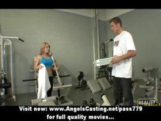 hawt golden-haired in the gym does oral sex for