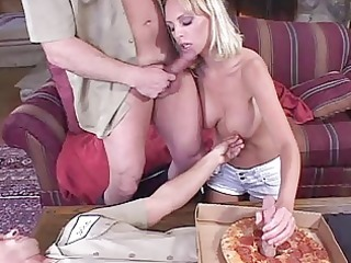 blond housewife swallowing a spunk fountain for