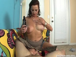 breasty older lady strokes a dong