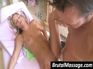 cute golden-haired goes for a massage and