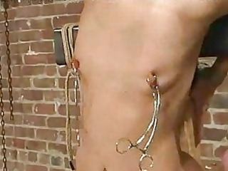 blond villein strung up with ropewhippedgaggedand