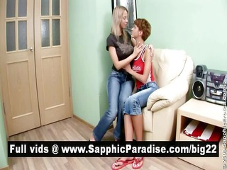 pretty golden-haired and redhead lesbos giving a