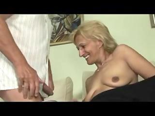blonde older masturbates and sucks and fucks with