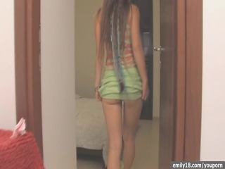 legal age teenager goes topless in closet