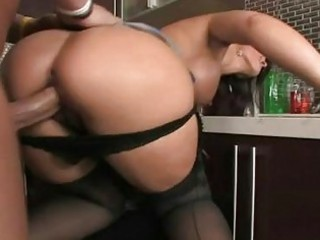 taut booty playgirl in dark nylons receives