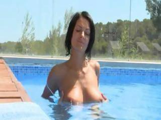 marvelous titty chick alone at the pool