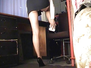 Secretary pantyhose tights upskirt