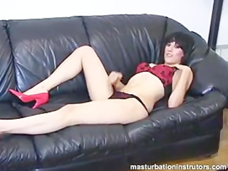 schlong teasing on the ottoman during the time