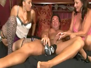 5 aged honeys give a stockings footjob