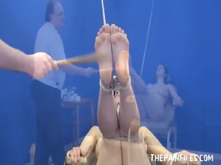 Feet whipping bondage and foot fetish of amateur