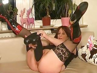 colossal sex toy fucking and double fisted