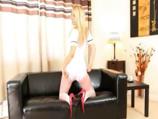 red shoes in white underware pose