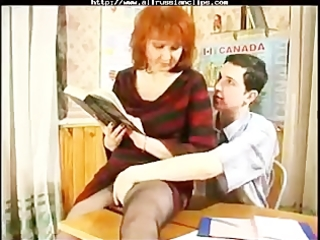 aged teaches her student russian cumshots drink
