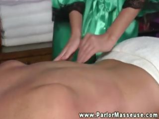 hot masseuse rubbing down her client and craves