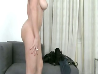 hawt angel teasing with fake penis on couch