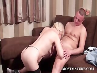 hawt older takes pecker in face hole and cum-hole