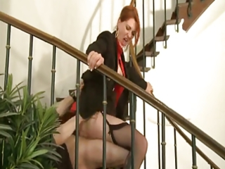 d like to fuck redhead in business costume slammed