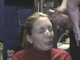wife receieving giant facial in the garage