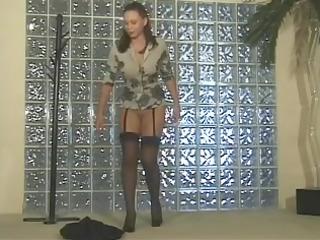 brunette hair hair in hawt stockings spreads her