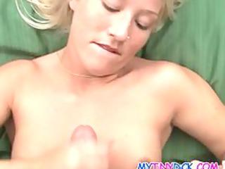 blondie receives cum all over her petite boobs