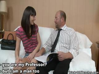 juvenile brunette hair rebecca drilled by old dude