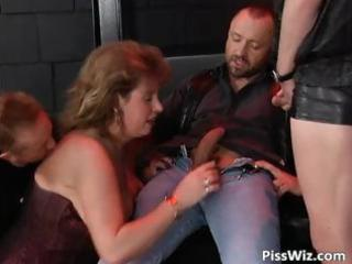 lads and one bulky doxy have a fun threesome