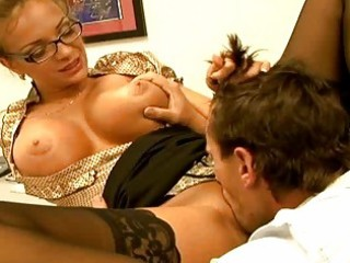 gorgeous breasty secretary receive a rod on her