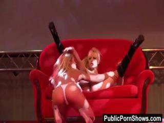 blonde strippers have sex on a bed