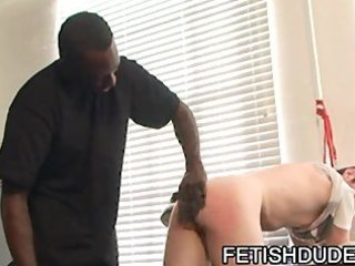 darksome chap sexy boi thrashing his white wazoo