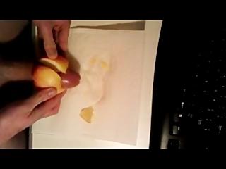 juvenile boy masturbating with apple