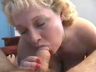 breasty grandma gives a oral-job