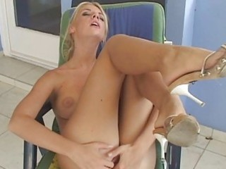 aroused blond with hawt tanned body in white