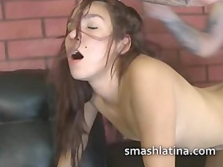 latin chick whore on her back getting fucked by a