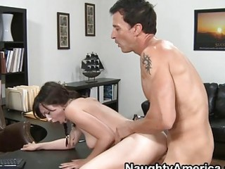 dark brown with the braids getting drilled doggy