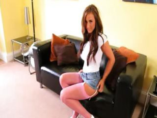 pink hose posing on the leather