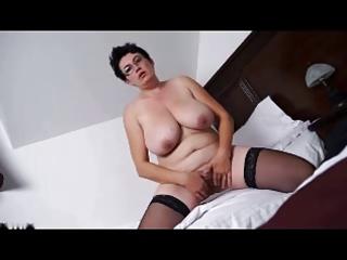 bulky aged dark brown undresses and masturbates