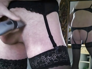 trim shave dong wear underware garter nylon