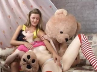 girls,one teddy bear