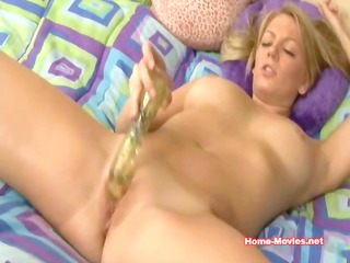 nice-looking blond beauty and her toy
