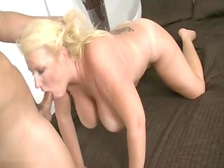 older golden-haired bitch sucking dick