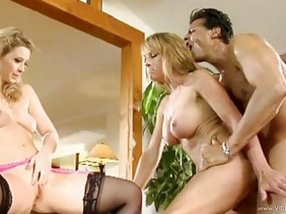 teasing blondes acquire their twats screwed by