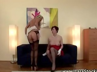 golden-haired lesbo in nylons eats aged european