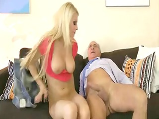young blonde with awesome milk sacks is porked