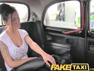 faketaxi breasty brunette hair in anal creampie