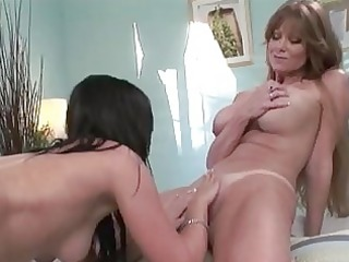 enormous chested lesbo momma licking hottie pot