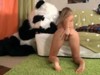 youthful whore engulfing teddy bear