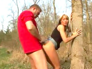 golden-haired girlfriend receives impure in forest