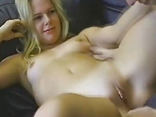 redpantied golden-haired takes facial