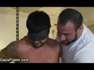 handcuffed blindfolded homosexual made to engulf