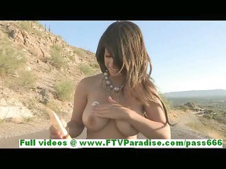 leila breasty superb dark brown woman flashing